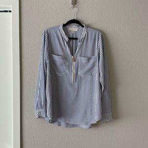 Michael Kors Blue White Striped Popover Blouse L